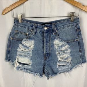 MINKPINK Destroyed Traveler Cut Off Jean Shorts
